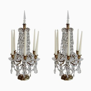 Napoleon III Crystal and Bronze Girandole Candelabras with 6 Branches, Early 1800s, Set of 2
