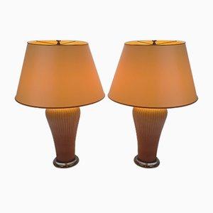 Rose Porcelain Table Lamps by Giulia Mangani, 1990s, Set of 2