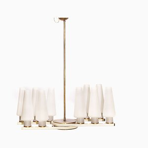 Vintage Brass Ceiling Lamp with Ten White Opal Glass Shades