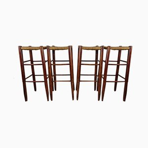 Rustic Bar Stools in the Style of Charlotte Perriand, Set of 4