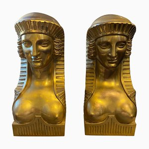 Antique Italian Gilded Bronze Retour d'Egypt Sphinxes, 1840, Set of 2