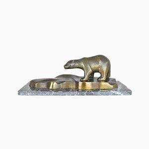 Polar Bear on the Ice, Bronze Sculpture, Art Deco
