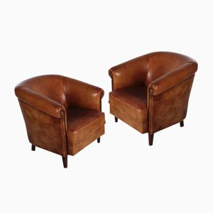Set of 2 Sheepskin Leather Club Armchair with Beautiful Patina