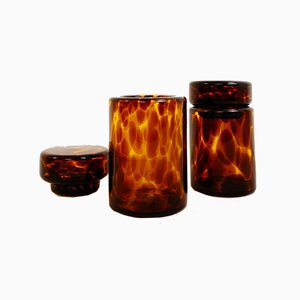 Decorative Turtle Shell Glass Bottles with Stopper from Barovier & Toso, Set of 2