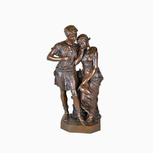 Levasseur / Siot, Lovers at the Fountain, Signed Bronze, 19th Century