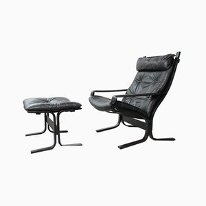 Siesta High-Back Chair with Ottoman by Ingmar Relling for Westnofa, 1960s, Set of 2