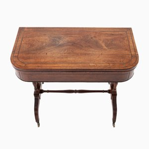 19th Century English Regency Rosewood and Palm Wood Card Table