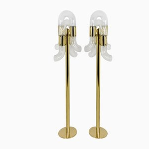 Brass and Murano Glass Floor Lamps by Aldo Nason for Mazzega, Italy, 1970s, Set of 2