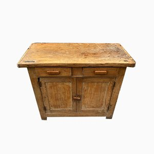 Small Antique Parisian Industrial Buffet in Solid Wood with 2 Doors, 2 Drawers & Shelf