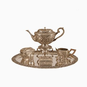 Antique Dutch Baroque Style Hand-Crafted Silver Tea Set with David Teniers Scene in Relief, Set of 9