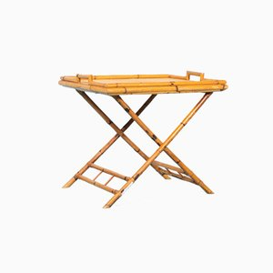 Mid-Century Bohemian Rattan Safari Serving Table with Detachable Serving Tray, 1960s