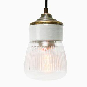 Vintage Industrial White Porcelain and Brass Pendant Light with Striped Clear Glass
