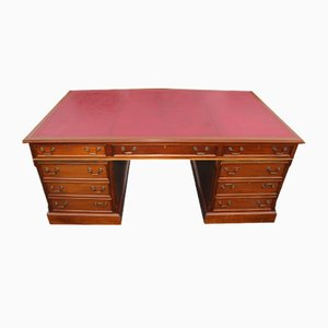 Mahogany Partners Desk with Red Leather Top, 1960s