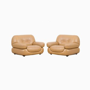 Italian Lounge Chairs in Tan Leather from Mobil Girgi, 1970s, Set of 2