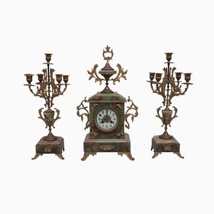 Antique French Onyx Clock and Candlesticks, 1900s, Set of 3