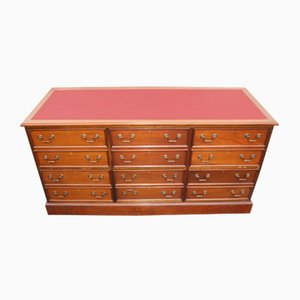 Mahogany Triple Chest Drawers with Red Leather Top, 1960s
