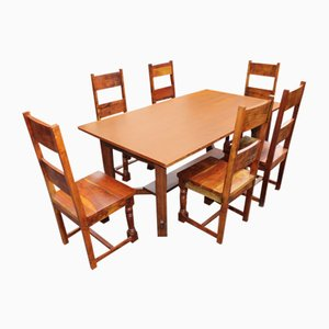 Teak Refectory Table and Dining Chairs, 1960s, Set of 6