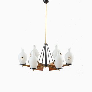 Italian Brass and Teak Chandelier with Vase-Shaped Opaline Glass Shades from Stilnovo, 1960s