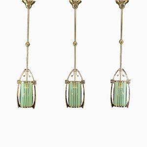 Art Nouveau Pendant Lamp with Original Opaline Glass Shades, Vienna, 1910s, Set of 3