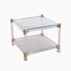 Italian Hollywood Regency Style Plexiglass Coffee or Side Table with Glass Top