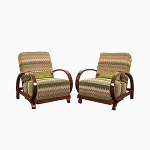 Art Deco Walnut Veneered Armchair by Jindrich Halabala, 1930s, Set of 2