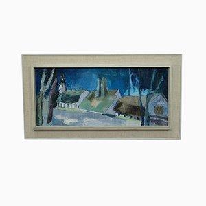 Scandinavian Modern Painting, 1960s, Oil on Canvas