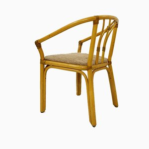 Bamboo and Leather Rope Armchairs, Set of 4