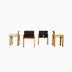 Vintage Chairs in Wood in the Style of Tobia & Afra Scarpa, 1970s, Set of 4