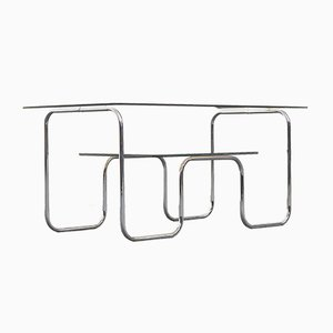 Bauhaus Coffee Table with Double Smoked Glass Top and Tubular Frame, 1960s