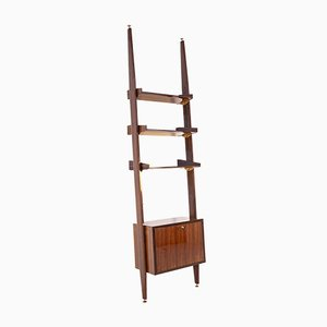 Italian Bookcase in Wood and Brass with Bar Cabinet