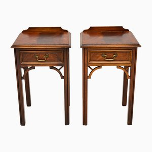 Antique Chippendale Style Mahogany Bedside Tables, Set of 2