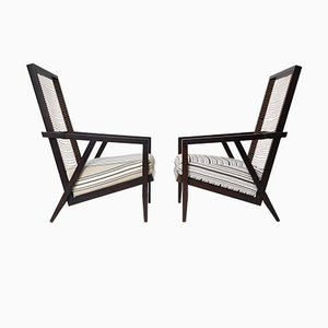 Italian Wood and Leather Astoria Hb Lounge Chairs by Pierantonio Bonacina, 1990s, Set of 2