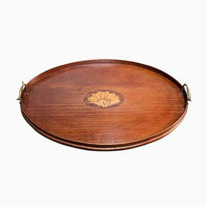 Antique English Georgian Mahogany and Brass Serving Tray with Boxwood Inlay, 1800s