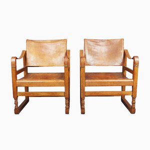 Art Deco Chairs in Oak and Leather, Set of 2