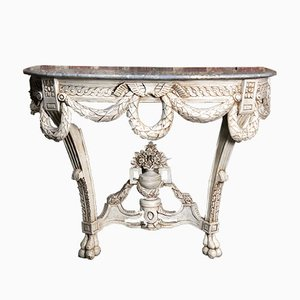 Louis XVI Console in Distressed Beige Carved Wood with Gray Marble Top