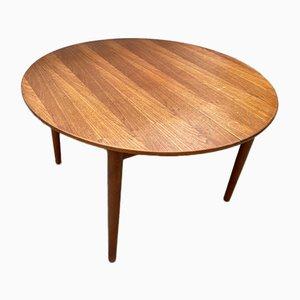 Round Scandinavian Extendable Dining Table in Teak, 1960s