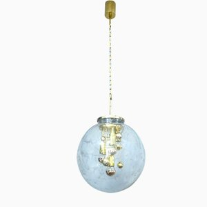 Glass Ball & Gold-Plated Brass Ceiling Lamp from Doria, Germany, 1960s