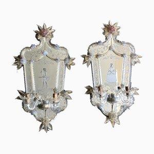 Large Antique Venetian Murano Glass Mirror Sconces, Set of 2