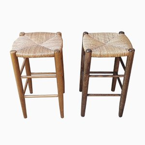 Straw Stools with Spindle Feet, Set of 2