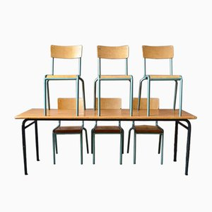 Industrial Table and 6 Chairs, Set of 7