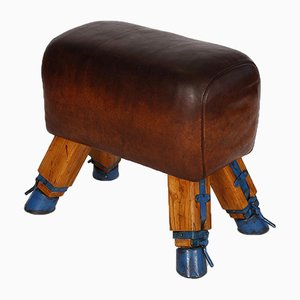 Vintage Leather Vaulting Horse or Stool, 1930s