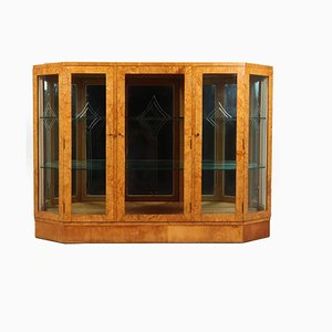 Art Deco Display Cabinet in Burr Maple, 1930s