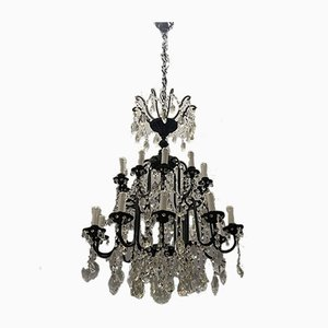 Large Wrought Iron Crystal Chandelier, 1920s
