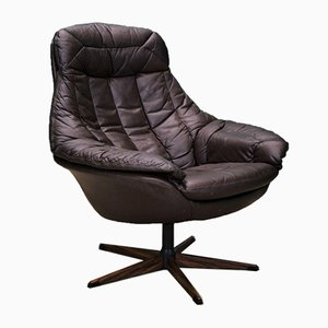 Mid-Century Danish Brown Leather Lounge Chair by H. W. Klein for Bramin, 1970s