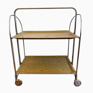 Serving Trolley in Chrome with Brown Trays, 1970s