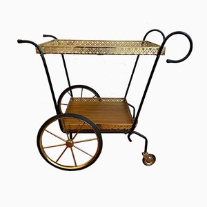 Mid-Century Tea Cart with a Black Metal Frame
