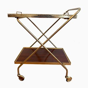Neoclassical Bar Cart with a Golden Brass Frame on Wheels