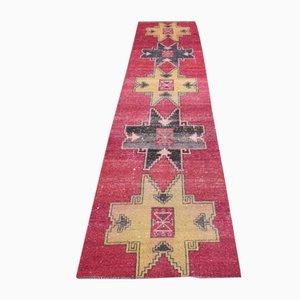 Vintage Turkish Handmade Oushak Runner in Wool with Geometric Design
