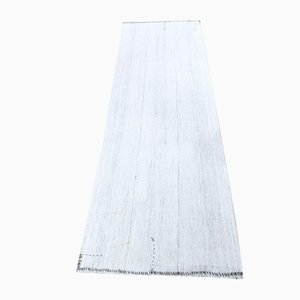 Vintage Turkish Handmade Flatweave Runner Rug in Gray Wool