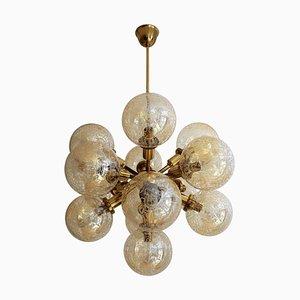 Mid-Century Brass and Glass Sputnik Chandelier from Kaiser Leuchten, 1970s